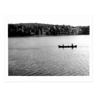 2 in a canoe Walden Pond 1971 Postcard