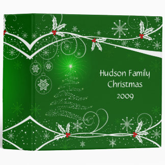 2 in. Snowflakes Holly Tree Photo Album 3 Ring Binder
