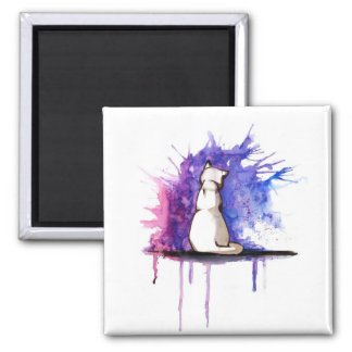 2 Inch Square Magnet - watercolor Cat