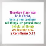 2 ingleses del 5:17 de los Corinthians Posters