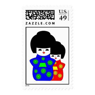 2 Japanese Dolls Postage Stamps