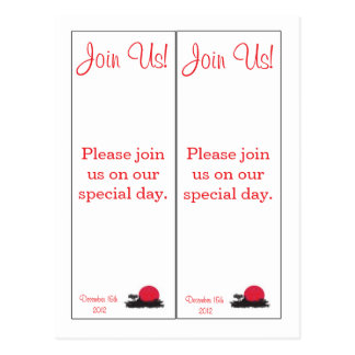 2 Japanese Rising Sun Save the Date Bookmarks Postcard