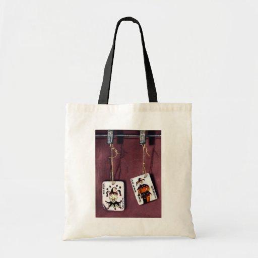 2 Joker's-Lucky Jokers-Wild Cards Canvas Bags