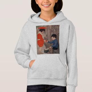 2 kids sharing an apple hoodie