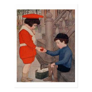 2 kids sharing an apple postcard