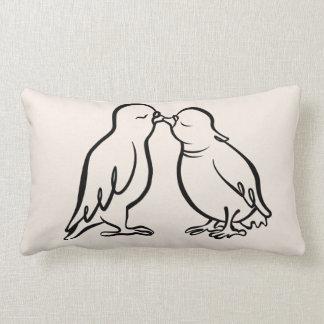 2 Kissing Sparrows– wedding gift, CraftiesPot Lumbar Pillow