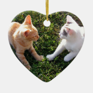 2 Kittens playing in garden Ceramic Ornament
