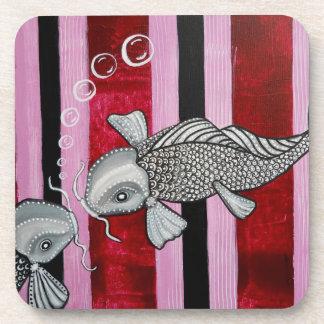 2 Koi Fish in Love Cork Coaster