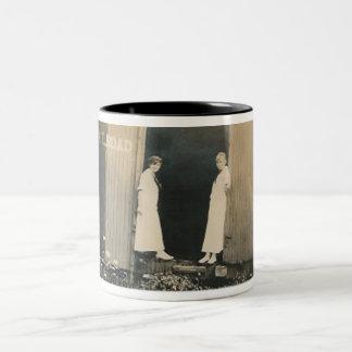 2 ladies on train mug
