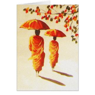 2 Laotian Buddhist Monks Greeting Card