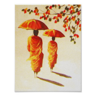 2 Laotian Buddhist Monks Poster