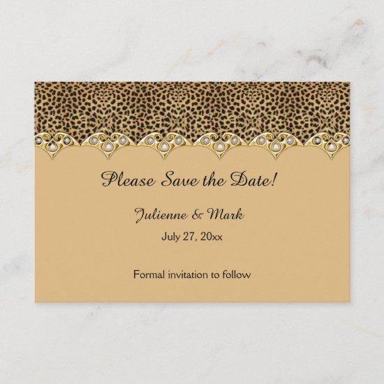 #2 Leopard Print Gold Diamonds Save the Date