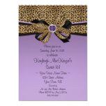 #2 Leopard Print Purple Jewels Diamonds Sweet 16 Personalized Invitation
