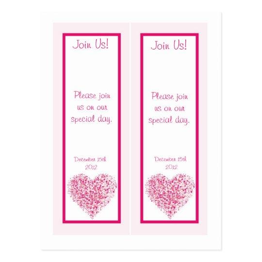 2 Light Pink Heart Wedding Save Date Bookmarks Postcard