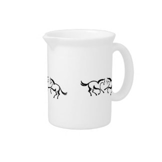 2 Line drawing horses meet to a heart shape Drink Pitcher