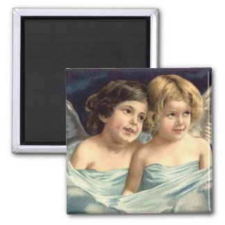 2 Little Angels Draped in Blue - Magnet