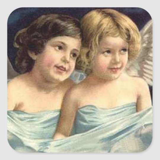 2 Little Angels Draped in Blue Square Sticker
