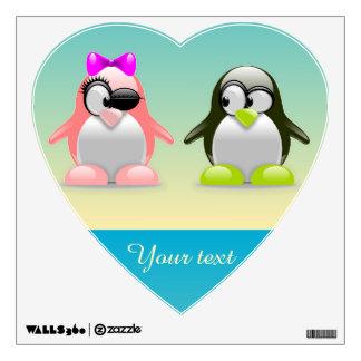 2 little penguins wall decal