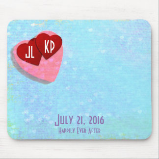 2 Little Red Hearts with Personalized Initials Mouse Pad