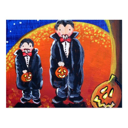 2 Little Vampire Brothers Folk Art Magnet Postcard