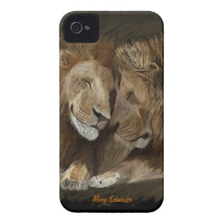 2 Male Lions iPhone 4 Cover