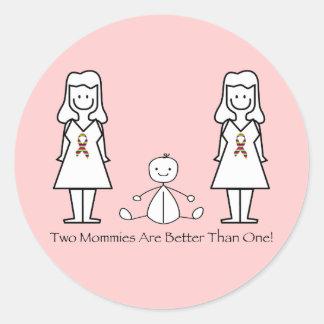 2 mamáes son mejores de 1 etiquetas redondas