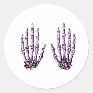 2 manos suben púrpura pegatina redonda