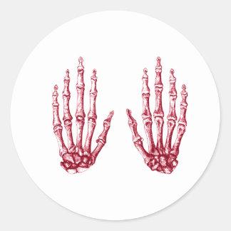 2 manos suben rojo pegatina redonda