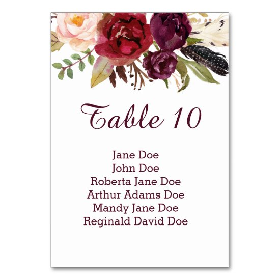 #2 Marsala Red White Roses Feathers Boho Table Table Number