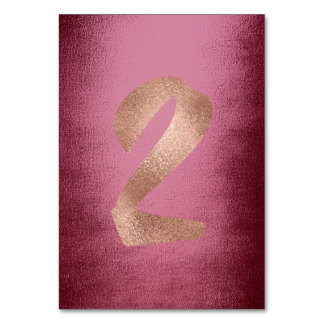 2 Metallic Rose Gold Blush Burgndy Table Number