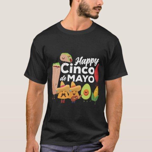 2 mexican food happy cinco de mayo T_Shirt