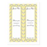 2 Modern Chevron Yellow/Grey Wedding Bookmarks Postcard