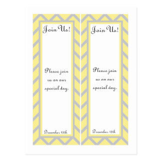 2 Modern Chevron Yellow/Grey Wedding Bookmarks Post Card