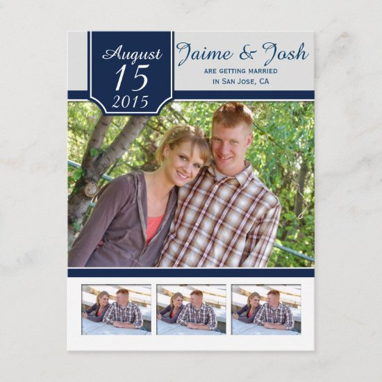 #2 Modern Navy and Gray Photo Save The Date