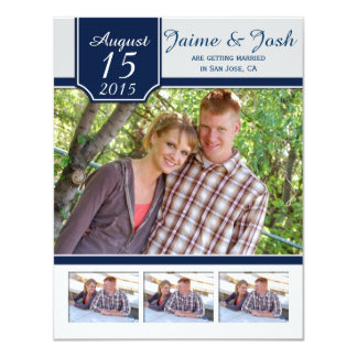 #2 Modern Navy and Gray Photo Save The Date 4.25x5.5 Paper Invitation Card