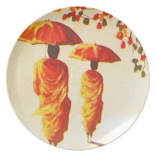 2 monjes budistas laosianos plato para fiesta