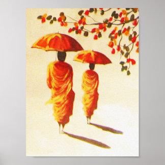 2 monjes budistas laosianos póster