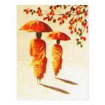 2 monjes budistas laosianos tarjeta postal