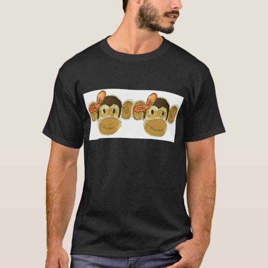 2 monkey heads orange bows T-Shirt