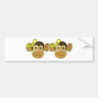 2 monkey heads yellow bows bumper sticker