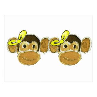 2 monkey heads yellow bows postcard