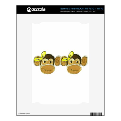 2 monkey heads yellow bows skin for NOOK