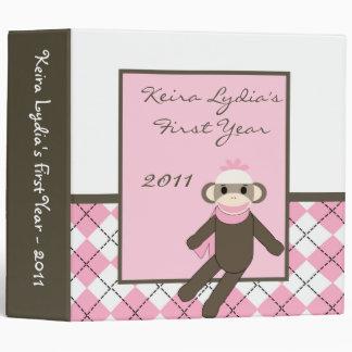 2 mono del calcetín del rosa del libro de recuerd