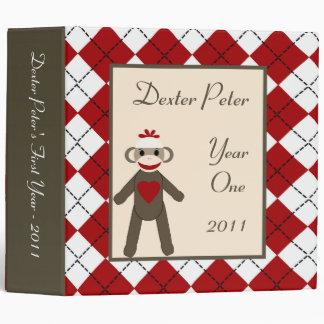 """2"""" mono rojo del calcetín del libro de recuerdos carpeta 2"""""""