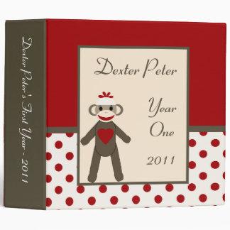 """2"""" mono rojo del calcetín del libro de recuerdos d carpeta 2"""""""