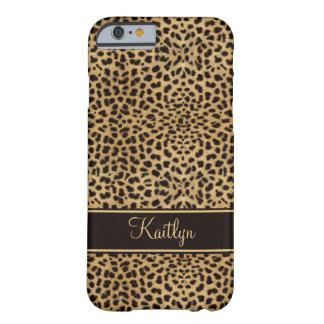 #2 monograma elegante del leopardo del caso del funda de iPhone 6 barely there