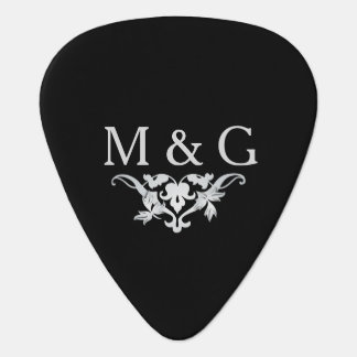 2 Monograms Couple with Scrollwork Guitar Pick