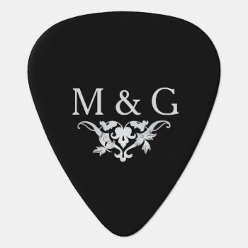 2 Monograms Couple With Scrollwork Guitar Pick by JaclinArt at Zazzle