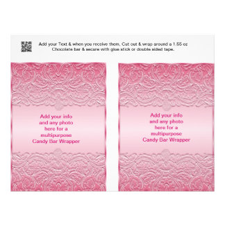 "2 Multipurpose Candy Bar Wrappers Party Favor 8.5"" X 11"" Flyer"