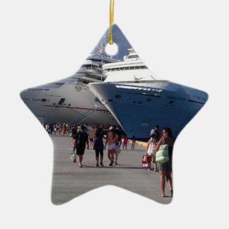 2 naves que sorprenden adorno navideño de cerámica en forma de estrella